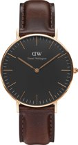 Daniel Wellington Classic Black Bristol DW00100137 - Horloge - Leer - Bruin - Ø 36 mm