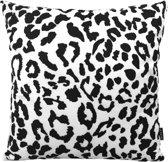 Black Leopard/Luipaard Kussenhoes | Katoen - Flanel | 45 x 45 cm | Zwart - Wit