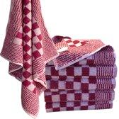 Homéé - Keukendoek - scherp rood / wit - 100% katoenen badstof - set van 6 stuks - 60 x 60 cm