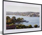 Foto in lijst - Rivier bij Istanbul fotolijst zwart met witte passe-partout 60x40 cm - Poster in lijst (Wanddecoratie woonkamer / slaapkamer)