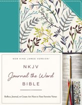 NKJV, Journal the Word Bible, Cloth over Board, Blue Floral, Red Letter Edition