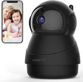Orretti® 1080P FHD WiFi IP Beveiligingscamera met Bewegingsdetectie Nachtzicht Microfoon met Terugspreekfunctie met iOS/Android app - Zwart