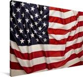 Close-up van de Amerikaanse vlag Canvas 180x120 cm - Foto print op Canvas schilderij (Wanddecoratie woonkamer / slaapkamer) XXL / Groot formaat!