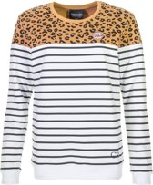 Colourful Rebel Striped Leopard  Sporttrui casual - Maat XS  - Vrouwen - bruin/wit/zwart