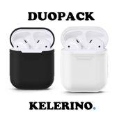 KELERINO. Siliconen hoesje voor Apple Airpods 1 & 2 - Duopack - Zwart / Wit