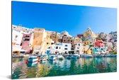 Kleurrijke afbeelding van de haven in het Italiaanse Napels Aluminium 180x120 cm - Foto print op Aluminium (metaal wanddecoratie) XXL / Groot formaat!