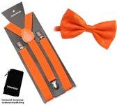 Bretels inclusief vlinderdas - Oranje - Sorprese - met stevige clip - bretels - vlinderdas - strik – strikje - luxe - heren - unisex - giftset