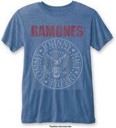 Ramones - Presidential Seal heren unisex burn out fashion T-shirt blauw - M