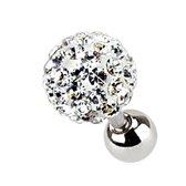 Helix piercing Ferido kristal wit 3 mm ©LMPiercings
