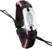 Fako Bijoux® - Armband - Leder - Visje - Zwart