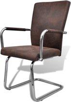 vidaXL Eetkamerstoelen modern design kunstleer bruin 4 st