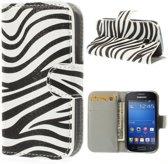 Zebra print wallet case hoesje Samsung Galaxy Ace Style G310