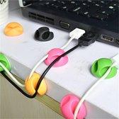 GadgetBay Kabelhouder dubbel 12 snoeren cable organizer clips - groen roze oranje