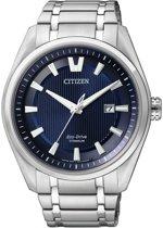 Citizen Super Titanium - Horloge - Titanium - 42 mm - Zilverkleurig / Blauw - Solar uurwerk