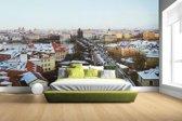 Fotobehang vinyl - Winter in Praag breedte 380 cm x hoogte 265 cm - Foto print op behang (in 7 formaten beschikbaar)