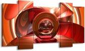 Canvas schilderij Abstract | Rood, Zwart, Wit | 120x65 5Luik