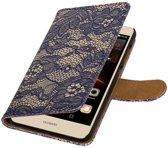Blauw Lace booktype wallet cover hoesje voor Huawei Y6 II Compact