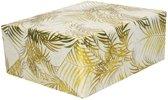 Inpakpapier/cadeaupapier wit/gouden palmbomen print 150 x 70 cm - Cadeauverpakking kadopapier