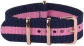 Premium Navy Blue Pink - Nato strap 22mm  - Horlogeband Blauw Roze + luxe pouch