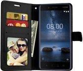 Nokia 8 2018 portemonnee hoesje - Zwart