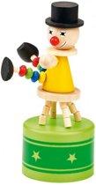 Moses Houten Drukfiguur Dansende Clown 14 Cm Geel/groen