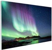 Noorderlicht in Noorse natuur Glas 120x80 cm - Foto print op Glas (Plexiglas wanddecoratie)