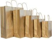 50x gouden papieren tassen Maat: 14x8,5x21,5cm