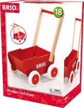 BRIO Rode houten poppenwagen - 31370