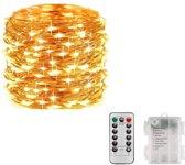 Decoratie Led verlichting 10M koperdraad met afstandsbediening Lichtsnoer – Batterijen – Sfeerverlichting