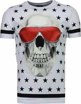 Local Fanatic Star Skull - Rhinestone T-shirt - Wit - Maten: M