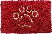 Nobleza 010318 - Microvezel dierenmat met pootafdruk, rood (B66 x L90cm)