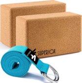 Premium Yoga Blok Strap Set - Kurk Yoga Blok en Yoga Riem- Kurk Yogablokken - Yogariem - Superiox™