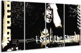 Glasschilderij Muziek | Zwart, Wit, Geel | 160x80cm 4Luik | Foto print op Glas |  F002163