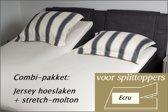 Cevilit Hoeslaken Split topper jersey hoeslaken (ECRU)  + stretch-molton 160 x 200-220. Combi-voordeelpak