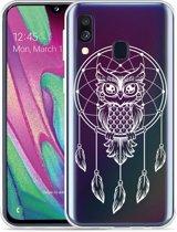 Galaxy A40 Hoesje Dream Owl Mandala White
