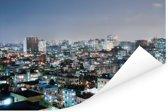 Dhaka in de avond mooi verlicht Poster 180x120 cm - Foto print op Poster (wanddecoratie woonkamer / slaapkamer) / Aziatische steden Poster XXL / Groot formaat!