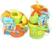 Strand/zandbak speelgoed blauwe emmer met vormpjes en schepjes - Zandbakspeeltjes - Strandspeelgoed