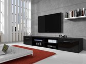 Meubella - TV-meubel Bash II - Hoogglans zwart - 240 cm
