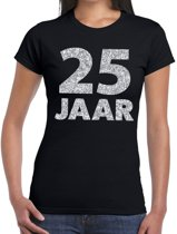25 jaar zilver glitter verjaardag t-shirt zwart dames - verjaardag / jubileum shirts XL