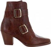 Tango | Ella western 1-b p.w cognac leather with croco print/straps - wooden heel/brown sole | Maat: 36