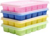 4-delig set van ijsblokvormen met deksel, 15 dobbelstenen ijsblokjes