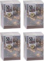 4x Kerstverlichting op batterij warm wit 50 lampjes - Feestverlichting