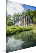Watervallen in het bos van het Nationaal park Plitvicemeren Canvas 60x90 cm - Foto print op Canvas schilderij (Wanddecoratie woonkamer / slaapkamer)