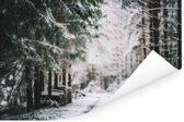 Winterlandschap midden in een bos Poster 180x120 cm - Foto print op Poster (wanddecoratie woonkamer / slaapkamer) XXL / Groot formaat!