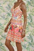 101 Idees allover print Ibiza jurk kort met smalle bandjes - maat S/M