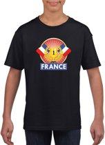 Zwart Frans kampioen t-shirt kinderen - Frankrijk supporter shirt jongens en meisjes S (122-128)