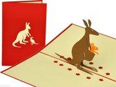 Popcards popupkaarten - Kangaroe met jong kind geboorte geboortekaart pop-up kaart