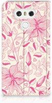 LG G6 Uniek Standcase Hoesje Pink Flowers