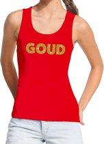 Goud glitter tekst tanktop / mouwloos shirt rood dames - dames singlet Goud S