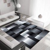 Vloerkleed modern Miami geblokt patroon zwart 120x170 cm